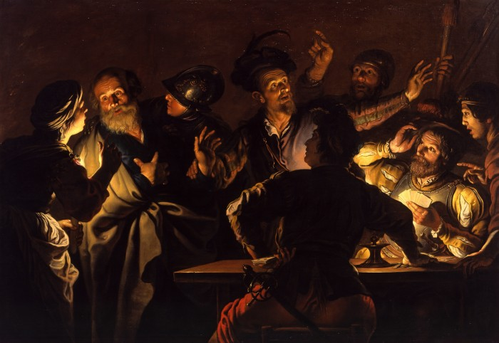 The Denial of St. Peter  by Gerard Seghers, c. 1620-1625 (public domain). Where once Peter denied even knowing Jesus (as depicted in the painting above), in Acts 5, Peter loudly proclaims Him in front of the Jewish authorities.