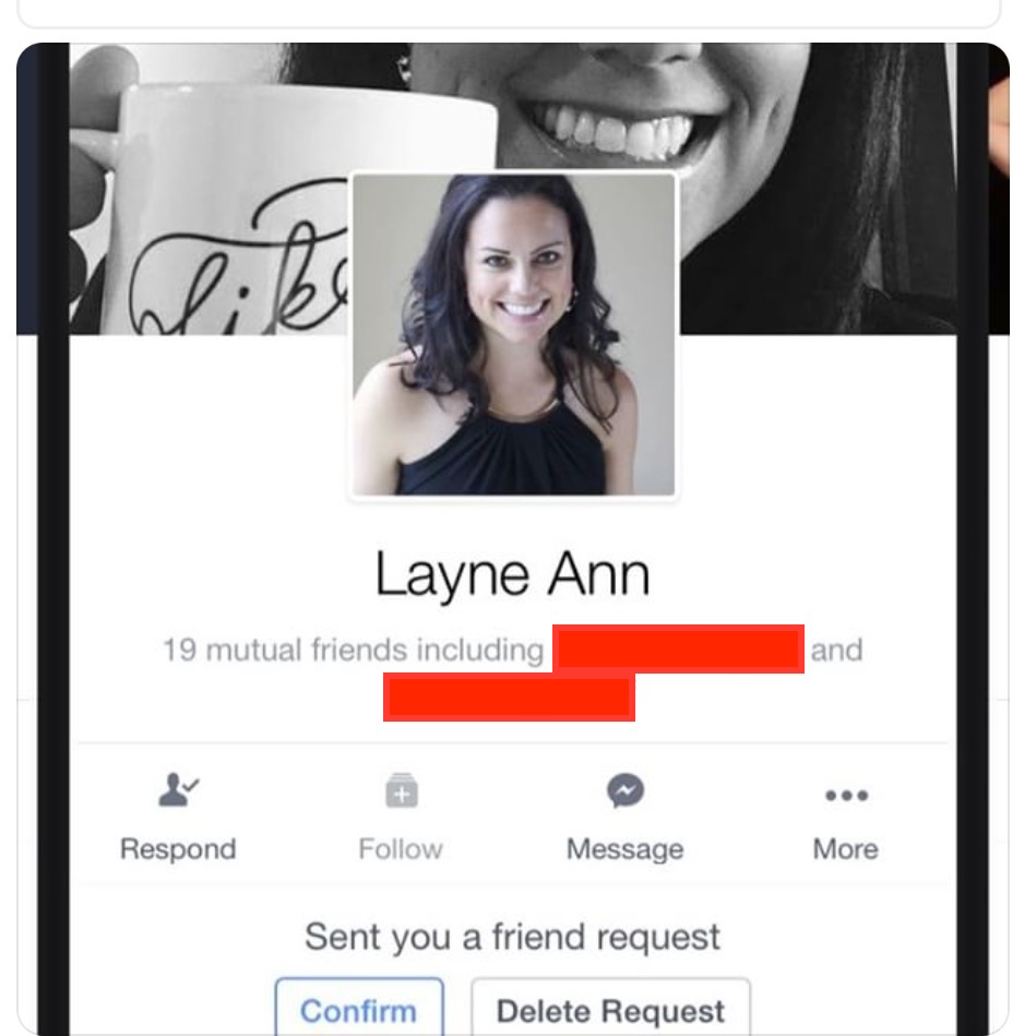 Screenshot of the friend request the Good Samaritan received from The Imposter, featuring me as the profile pic AND the cover photo.