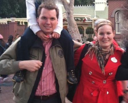 Jordan Brandman with Disney lobbyist Carrie Nocella inside Disneyland.