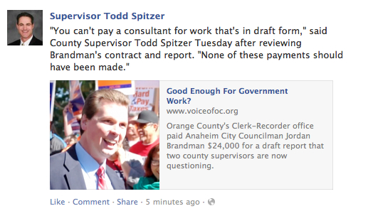 Todd Spitzer shared the story on his Facebook Fan page.