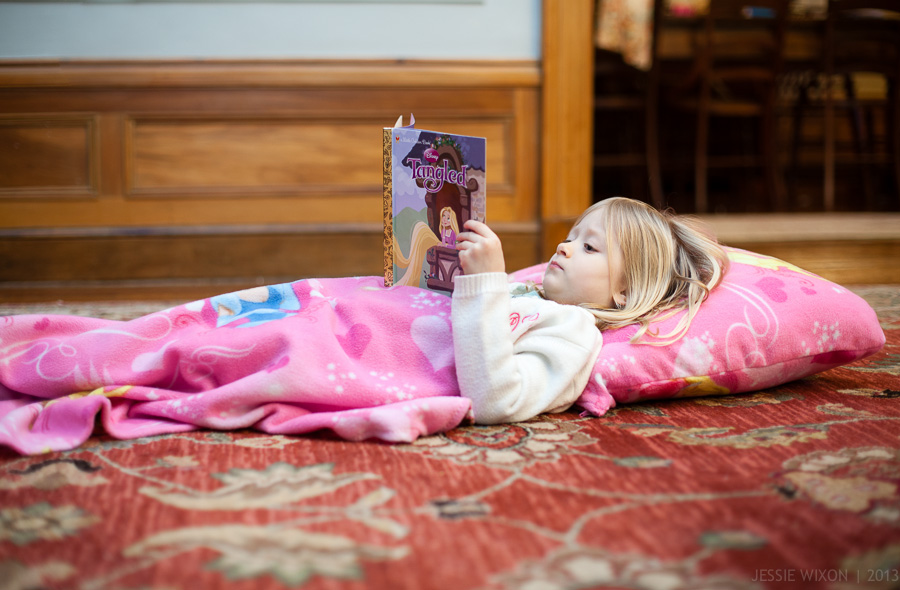 58/365  Gabba-made pillow and blanket and her new favorite book