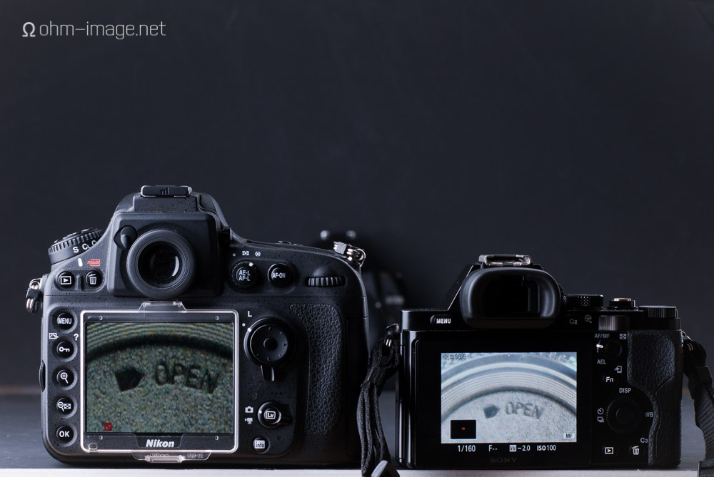 Both cameras set to ISO 100 and an exposure of 1/160. left: D800 live view with Nikon 50/2 Ai @f/2; right: a7r live view with Summicron 50/2 @f/2