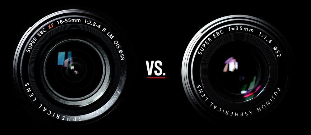 Left: Fujinon XF 18-55 f/2,8-4; Right: Fujinon XF 35 f/1,4