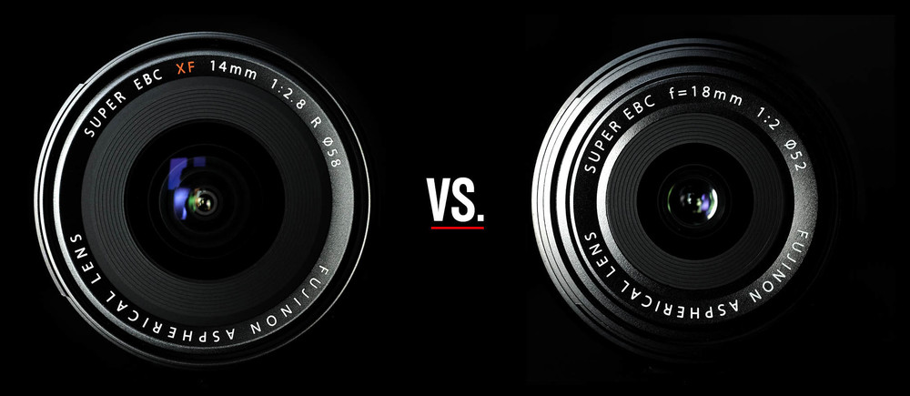 Left: Fujinon XF 14mm 1:2,8 R; Right: Fujinon 18mm 1:2