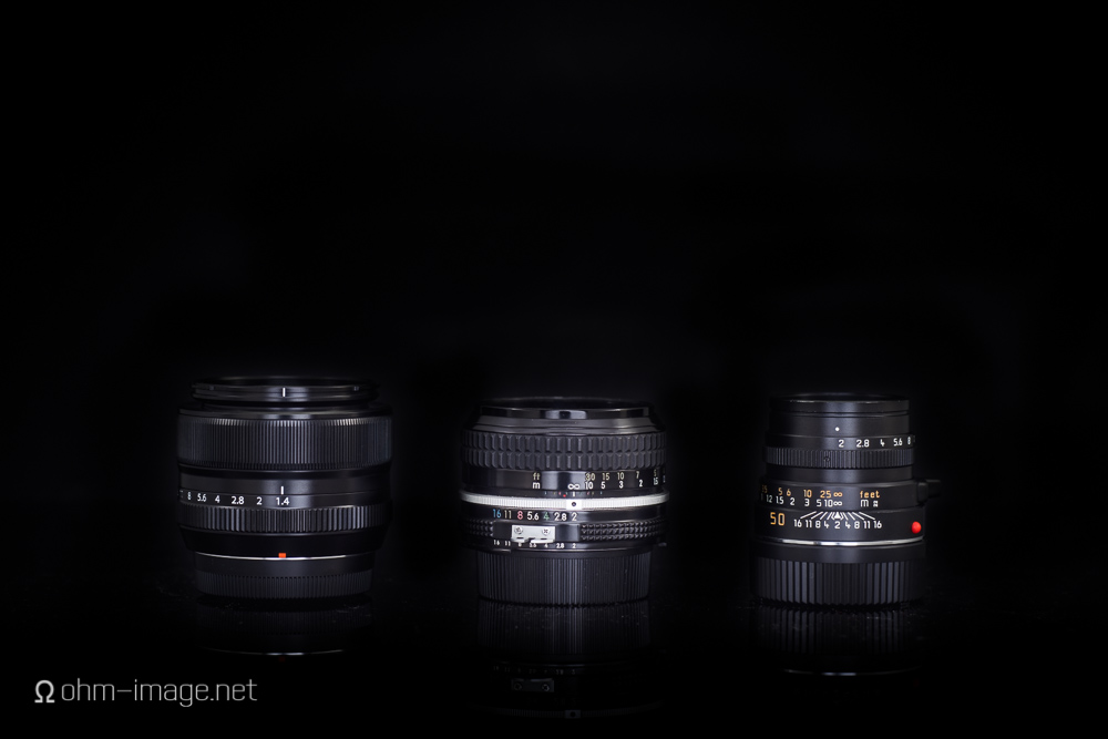 Left: Fujinon 35; Middle: Nikkor 50; Right: Summicron 50