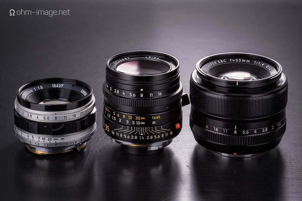 From left: Canon 35/1,5 LTM; Leica Summilux 35 ASPH; Fujifilm XF35/1,4R