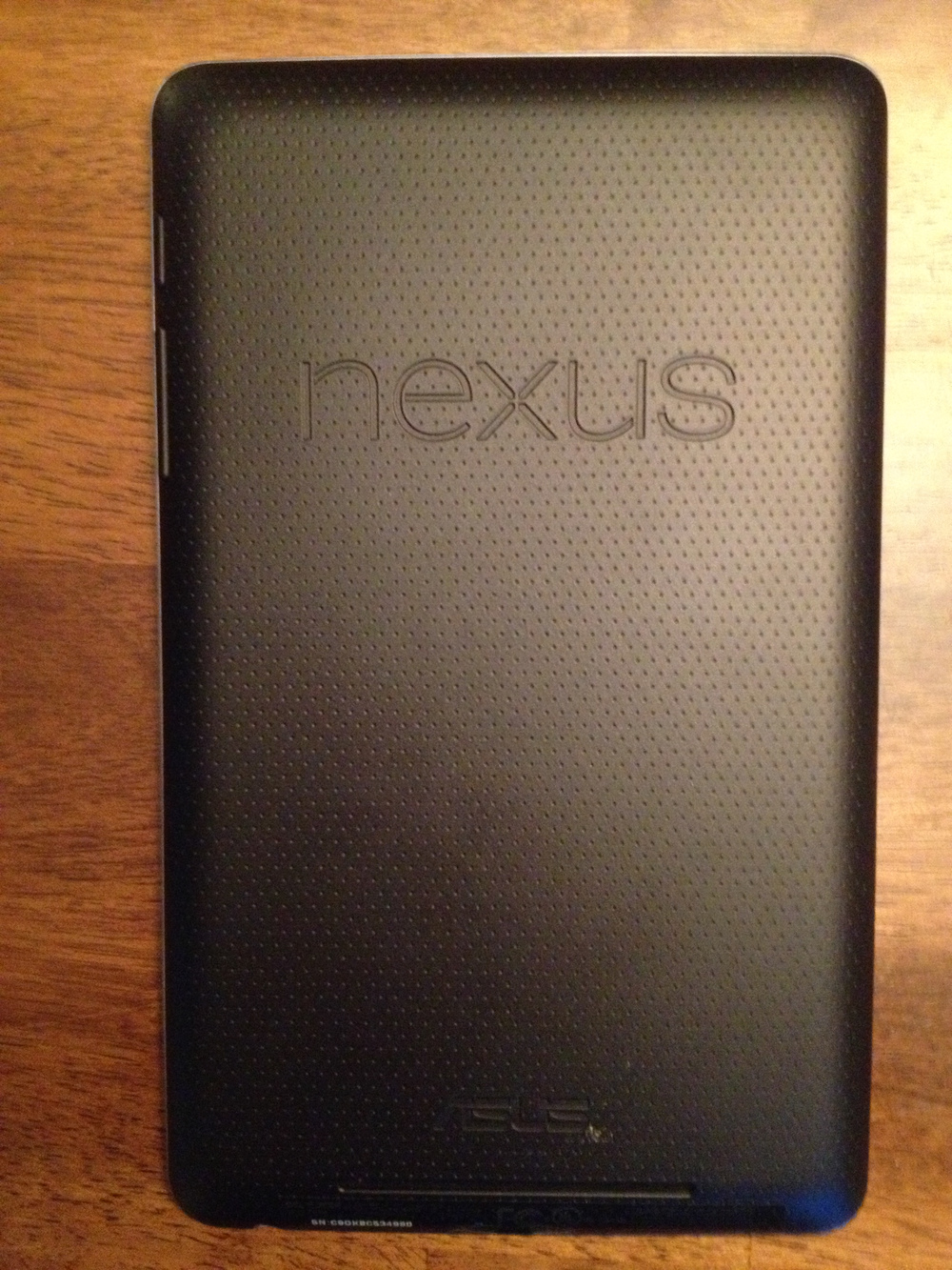 The back of the Nexus 7. Note the Nexus and Asus branding.