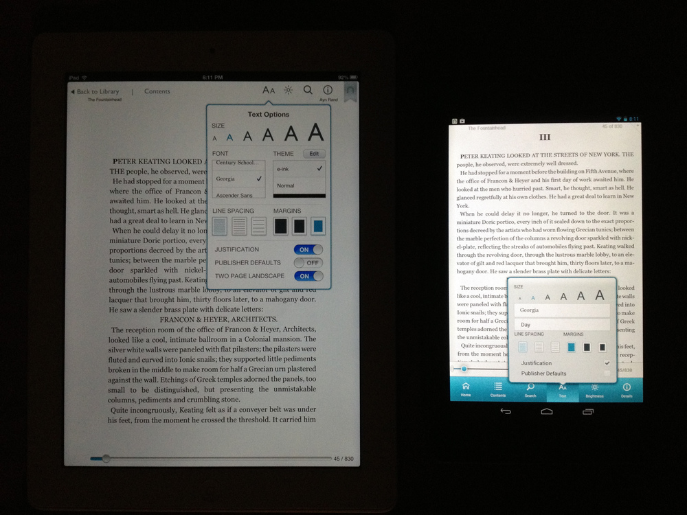 "Minimum brightness settings of iPad 9.7"" and Nexus 7 both running Nook App"
