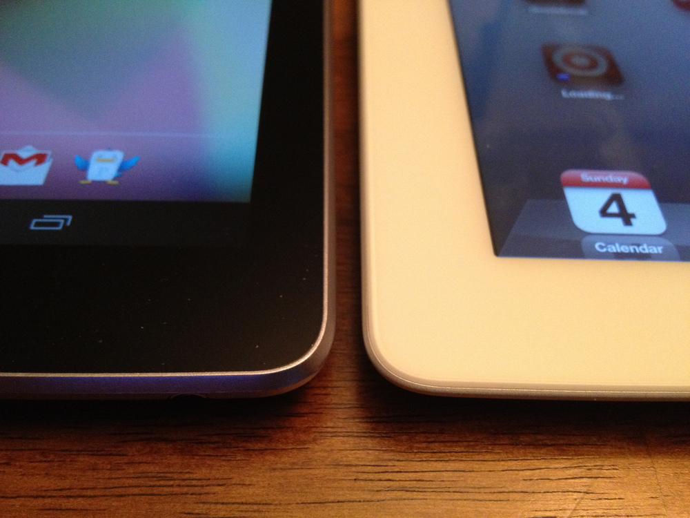 "Nexus 7 and iPad 9.7"" show similar build quality. Both are really nice devices."