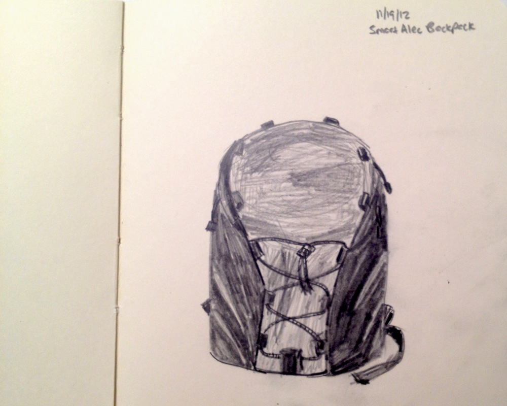 My pencil drawing of the Tom Bihn 3rd Gen Smart Alec in Black/Steel (maybe someday I will design my own bags)