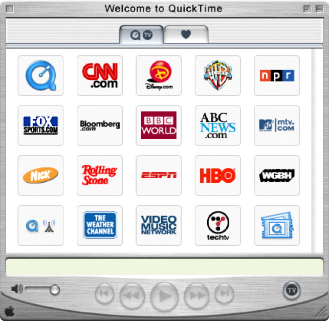 Here is QuickTime 5. Looks just like the Apple TV menu, right?