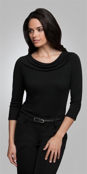 2226  eva cowl 3/4 sleeve  $65.90  100% high twist polyester  black   SIZES : XXS XS S M L XL 2xL 3xl 4xl