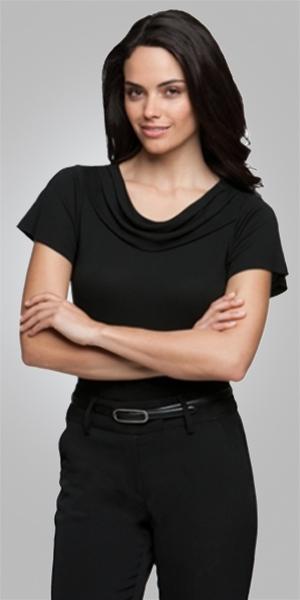 2227  eva cowl short sleeve  $65.90  100% high twist polyester  black   SIZES : XXS XS S M L XL 2xL 3xl 4xl