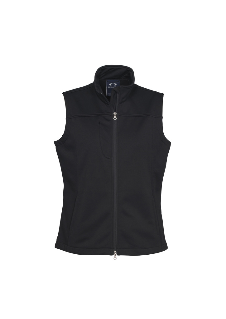j29123  ladies soft shell vest  $82.45  100% bonded polyester I poly knit lining I chin guard I Water repellent I windproof i  Black    SIZES : S M L XL 2XL