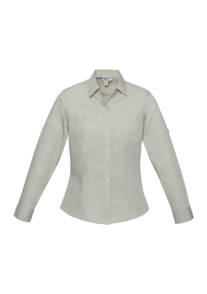 S306LL   LADIES Poplin Shirt                        65% POLYESTER I 35% cotton  sand    SIZES  : 6  8  10  12  14  16  18  20  22  24