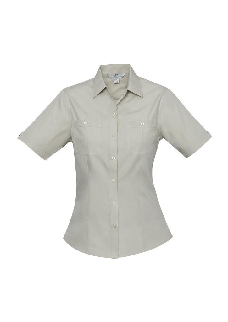 S306ls   LADIES poplin shirt   85% polyester 35% cotton I  sand    SIZES  : 6  8  10  12    1  4  16  18  20  22  24