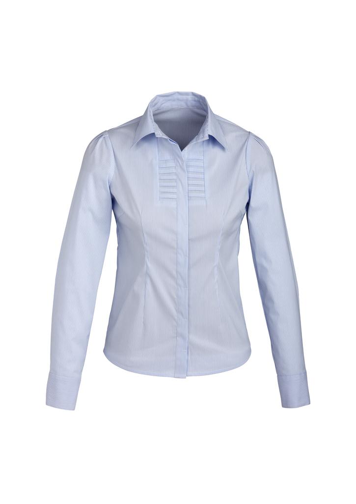 s121ll  LADIES berlin l/s shirt  61% cotton 35% POLYESTER 4%elastane  I  blue    SIZES  :  6  8  10  12    1  4  16  18  20  22  24  26
