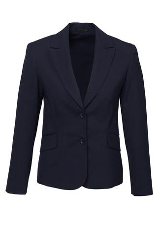 64011   LADIES midlength jacket  55% POLYESTER I 43% WOOL I 2% ELASTANE I   NAVY   SIZES  : 4  6  8  10  12  14  16  18  20  22  24  26