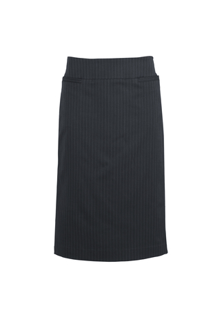 10118  LADIES relaxed fit lined skirt   92% POLYESTER 8% BAMBOO I  NAVY pinstripe    SIZES  : 4 6 8 10 12 14 16 18 20 22 24 26
