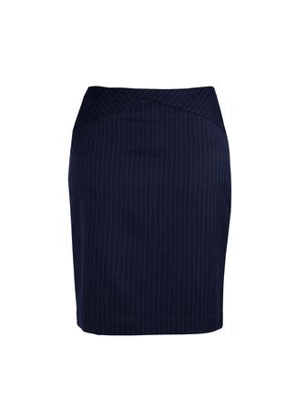 20214   Ladies chevron band skirt 92% polyester 8% bamboi navy pinstripe   sizes   4 6 8 10 12 14 16 18 20 22 24 26