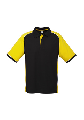 P10112      Men's polo      $27.90  65% Polyester   35% Cotton Pique Knit    Black/yellow   sizes:    s   m   l   xl   2xl   3xl   5xl