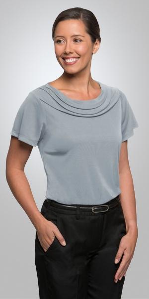 2227  eva cowl short sleeve  $65.90  100% high twist polyester  SILVER   SIZES : XXS XS S M L XL 2xL 3xl 4xl