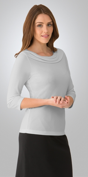 2226     eva cowl 3/4 sleeve      $65.90    100% high twist polyester    SILVER    SIZES  : XXS   XS   S   M L   XL   2xL   3xl 4xl