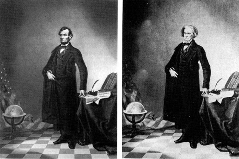 This is an early example of an altered photo. An iconic photo of Abraham Lincoln is actually a composite of his head on John Calhoun's body, circa 1860.