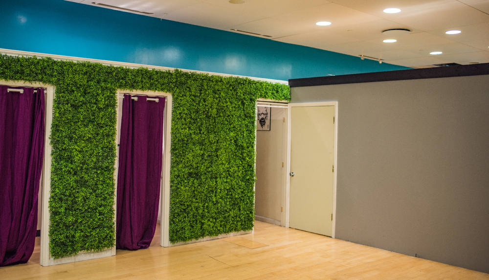 Dressing rooms, and a grass wall from Disney that's great for headshots.