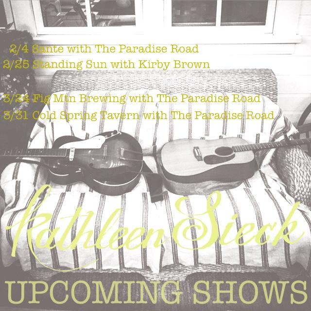 upcoming shows The Paradise Road, Kathleen Sieck gig poster