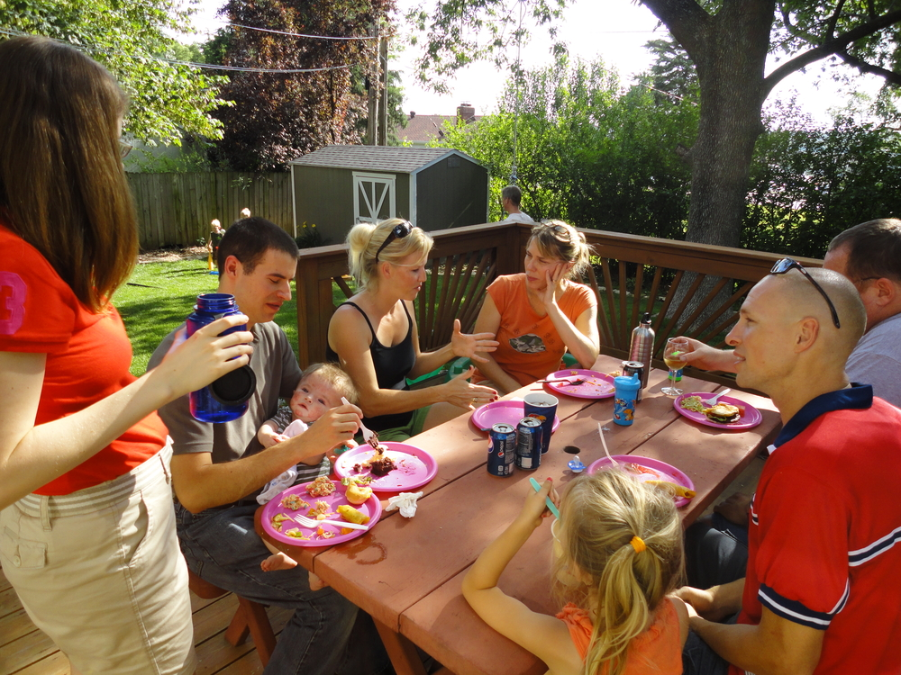 Backyard grill-out with our neighbors