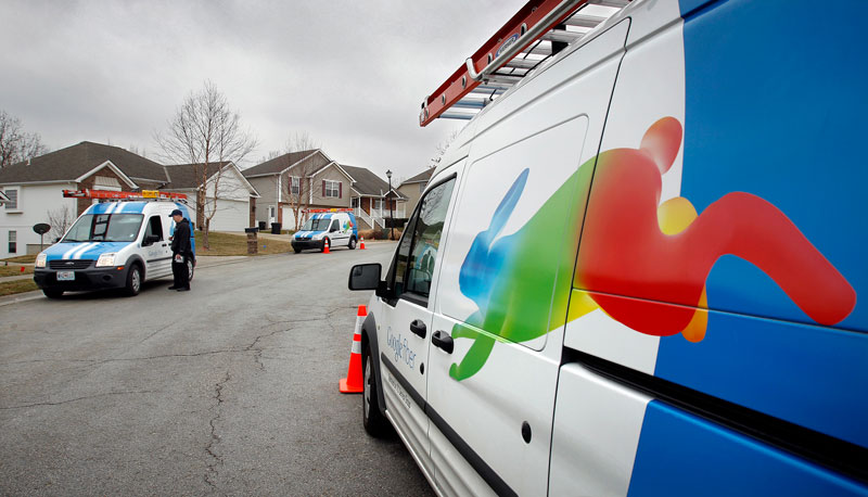Eighteen months passed between the time Google announced Fiber to Kansas City, Kansas and when they actually started installations. So it might be a while before we see these trucks in Merriam. Credit: Keith Myers/Kansas City Star/Newscom
