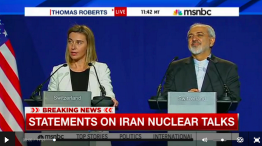 Fravahr interpreted for Mohammad Javad Zarif during Iranian Nuclear Talks taking place in Switzerland that aired live on MSNBC on April 2nd 2015