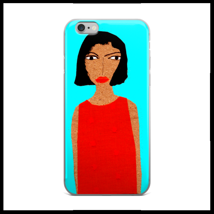 "6. For the practical mom  -- she needs a fun yet protective case for her I-phone and we have the perfect one for her. Featuring one of Patrick-Earl's ""fashion folk"" in a red dress against a blue background, she'll smile every time she pulls her phone out!"