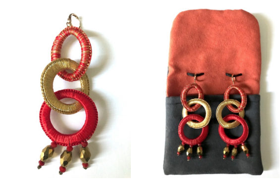 Red and Gold Osiris Earrings  95.00  Osiris earrings are created exclusively for  HOUSE OF TERRANCE by Sylvie Boksenbaum, founder of  boks  &  baum, and handcrafted in Mexico.  Each piece is crocheted by hand. Exceptionally light and anti-allergy, these  boks  &  baum earrings are made with cotton, lurex, and crystal.  Each pair comes in an elegant suede pouch.   boks  &  baum . Inspired by France, handcrafted in Mexico.  Length - 4 inches  Width - 1 1/4 inches