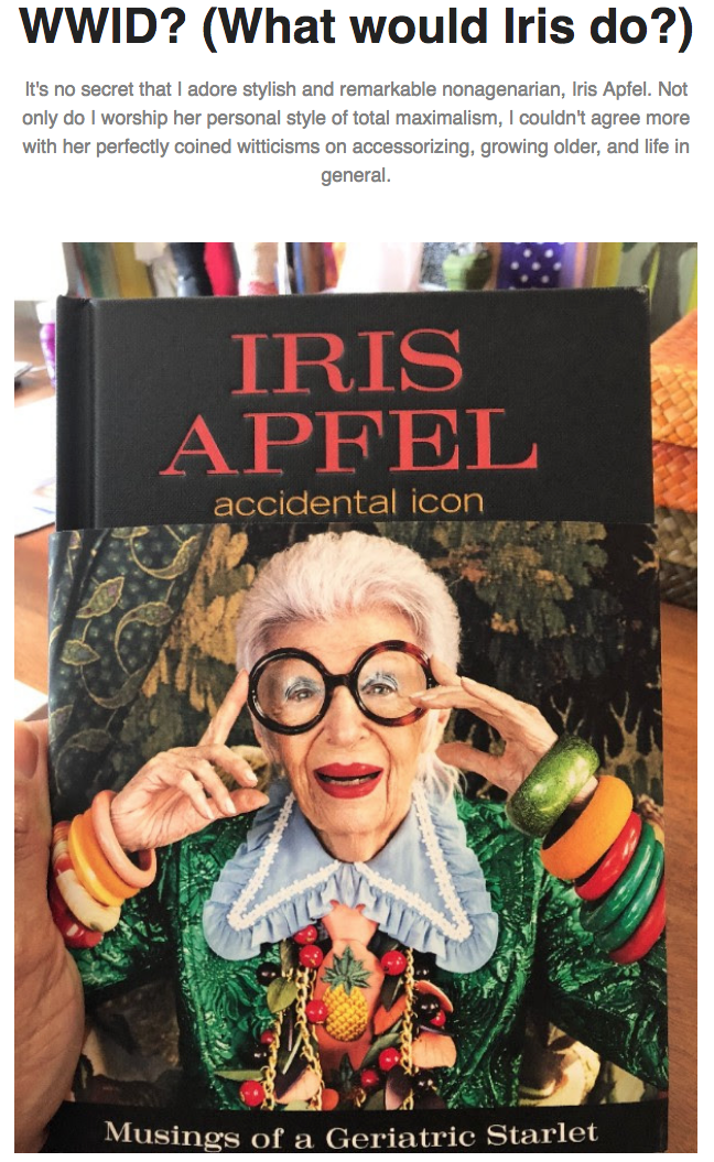 Click through to our H*O*T Blog Post on Iris Apfel.