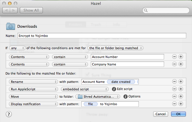 Hazel rule where the AppleScript is embedded