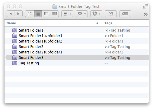 Here's the smart folders I created with the Tags used for the folders.