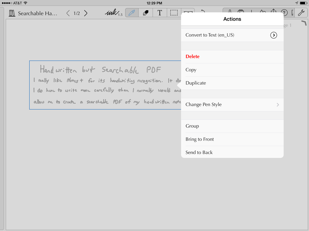 Tap on the sandwich stack that appears where the checkmark was.  Duplicate the handwriting and then convert to text.
