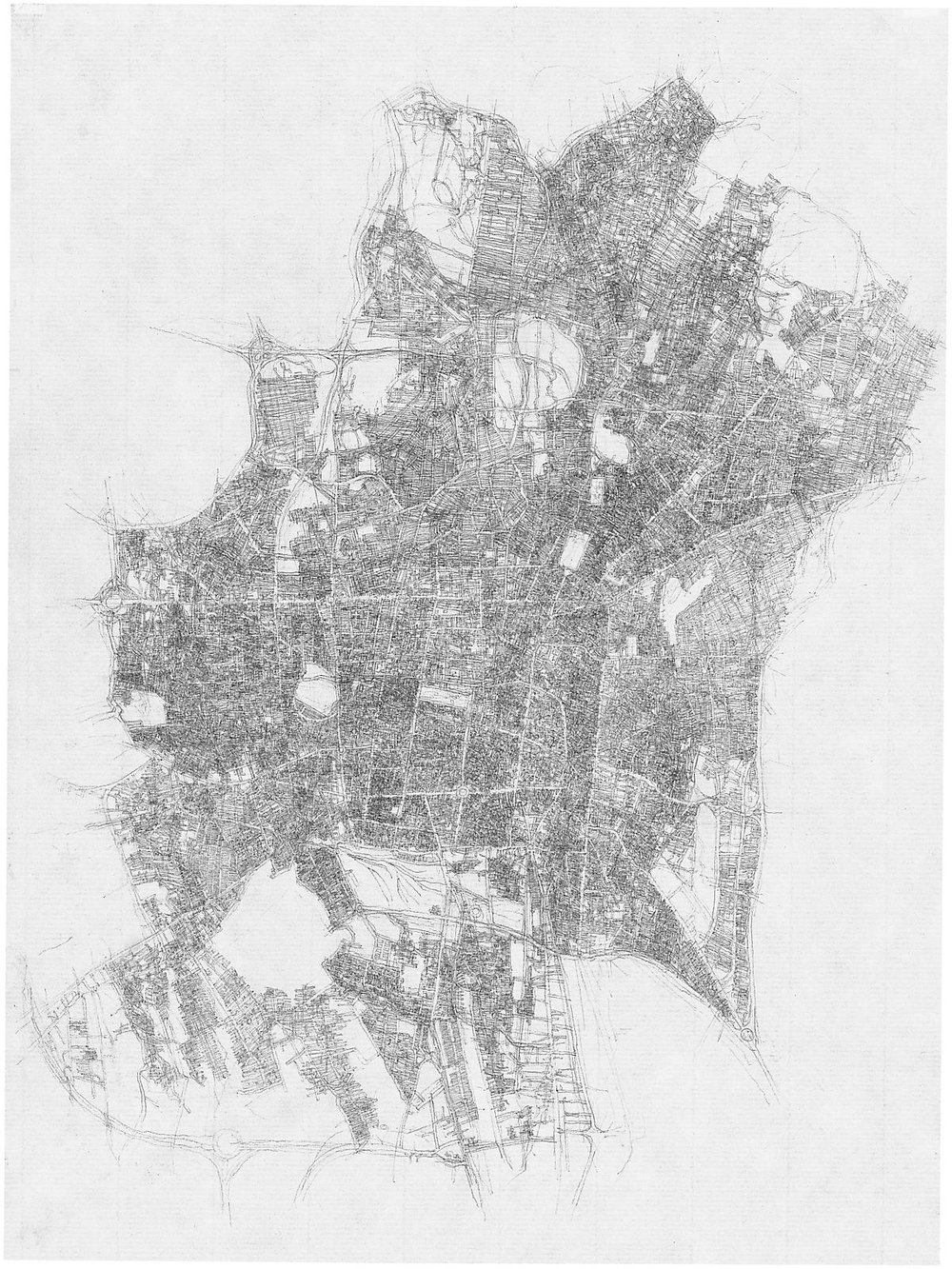 City Drawings Series - Tehran-n44 1997 pencil on paper 31 x 21 cm / 12.2 x 8.3 in. Click on the picture for source.