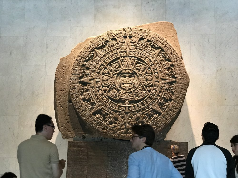 There is always a crowd around the Aztec Sun Stone…