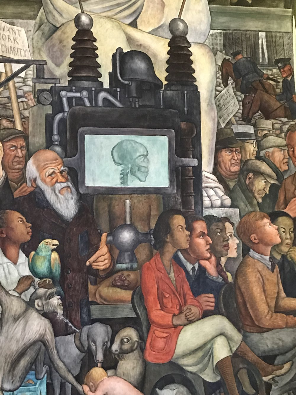 Oh hey! Darwin! This is from a (small) portion of Diego Rivera's mural El hombre controlador del universo (1934)