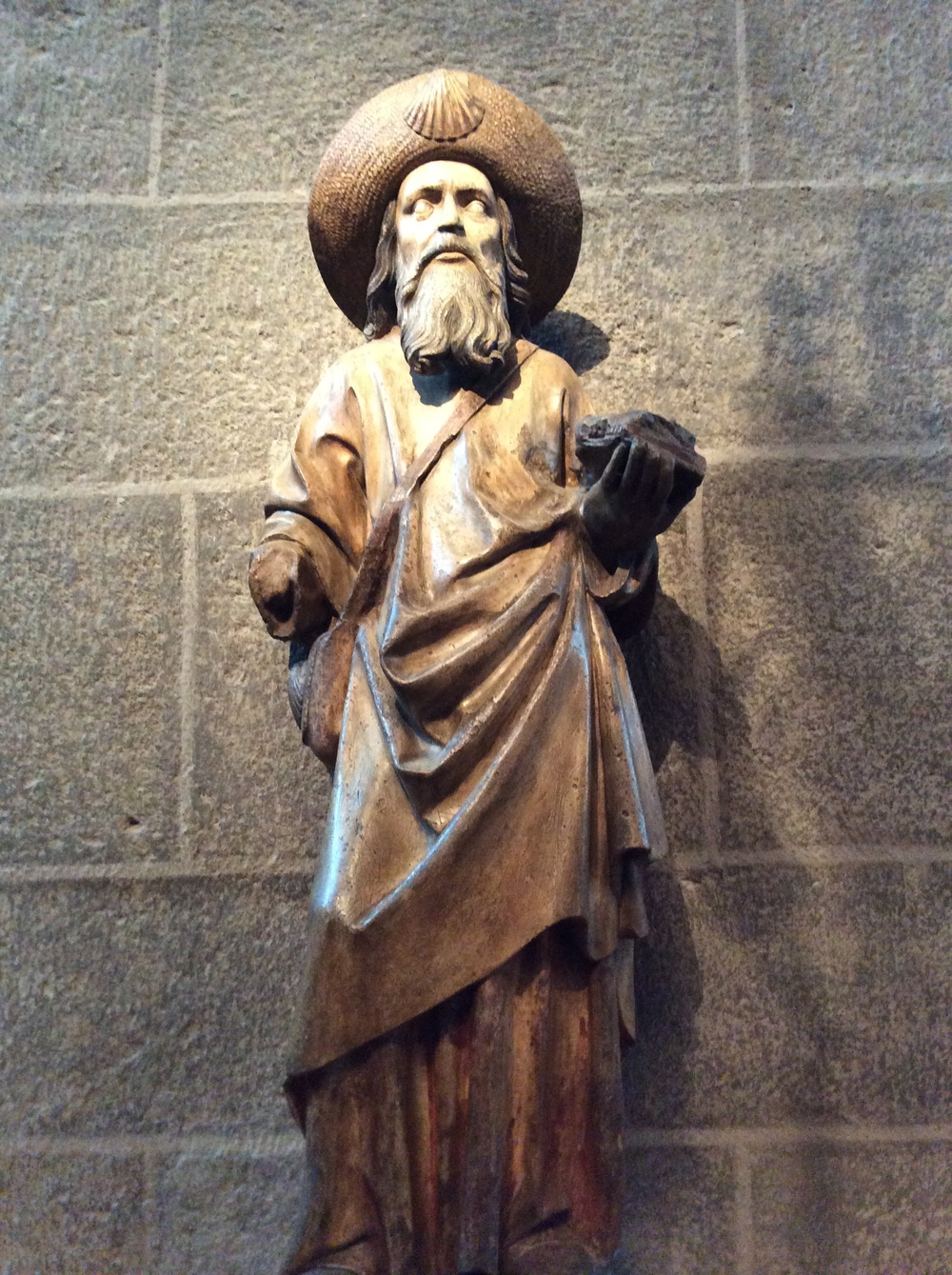 This pilgrim statue resides in the cathedral where it all began in 950