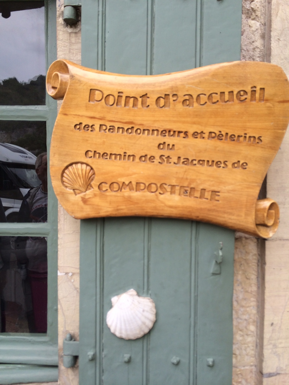 "This sign I found on a bridge in Cahors. It reflects the contemporary popularity of ""the Camino."""