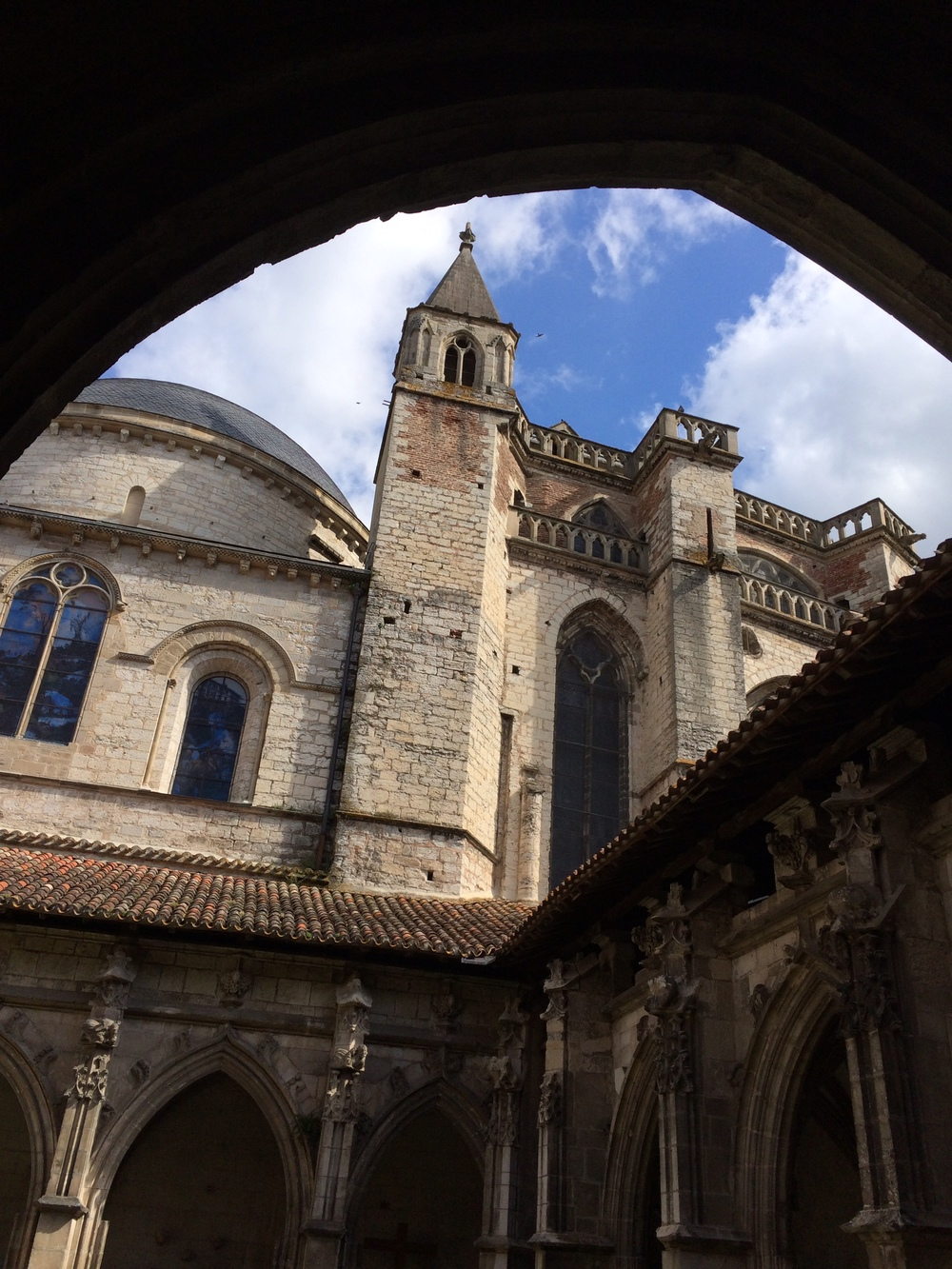"This is one exterior shot of the cathedral in Cahors. A very popular ""hospitality"" place for pilgrims in the 10th century."