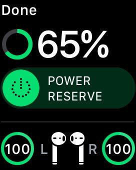 Battery status on Apple Watch