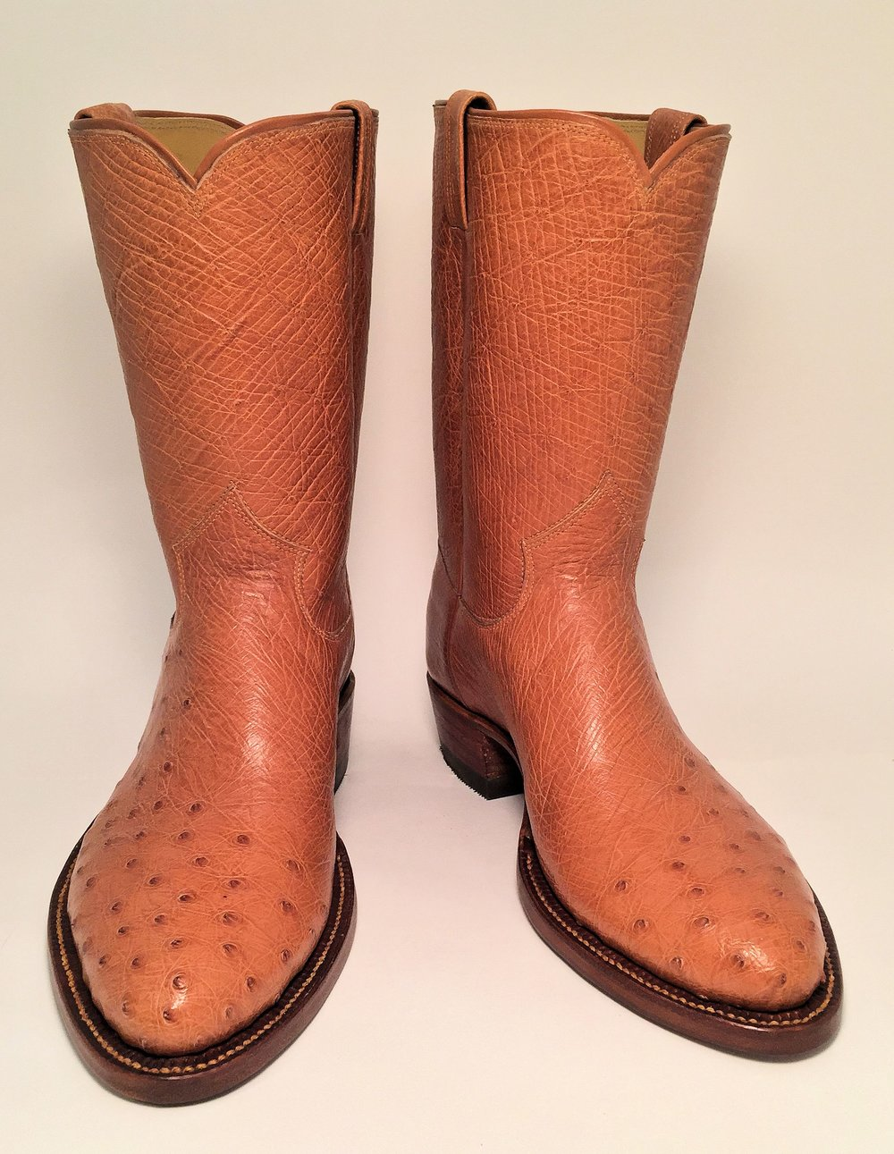 Client Supplied Ostrich Skin Cowboy Boot
