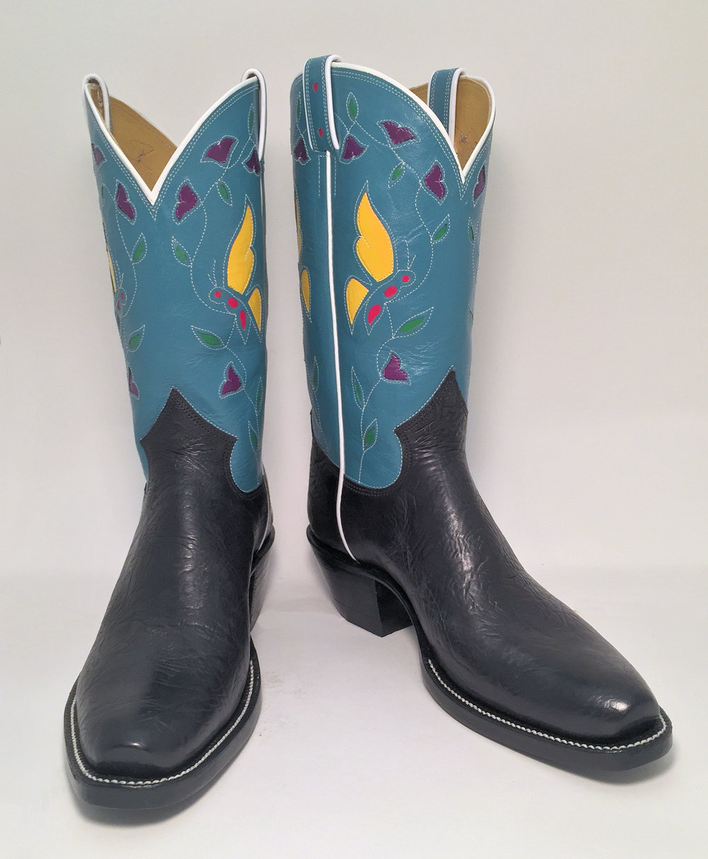 Vintage inspired butterfly cowboy boot