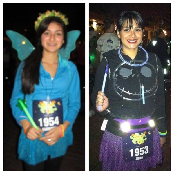 Starlight wore a teal Team Sparkle skirt and wings, I wore purple and Skellington. We also brought glow-in-the-dark necklaces, bracelets and wands.