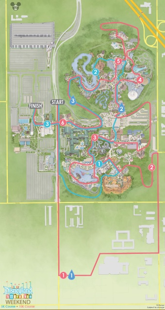 10K and 5K Course Map from runDisney